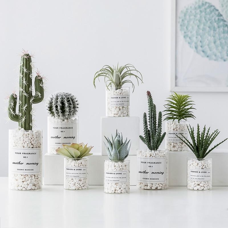 Nordic Simulation Succulent Plant Pot White Stone Artificial Flower Green Plant Cactus Vase Bonsai Decor Office Home Accessories