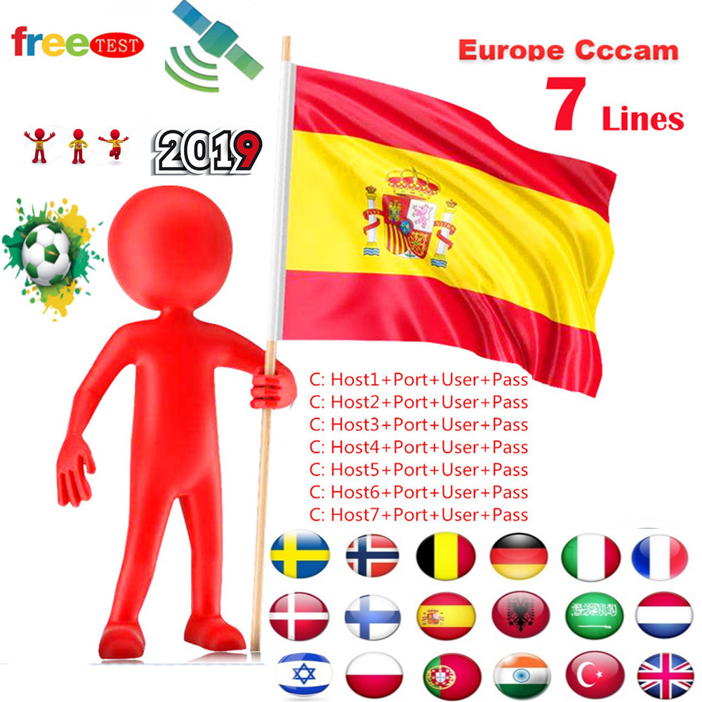 Best Stable CCcams Europe 6/7line Spain Azamerica France Cccam For Receptor De Satelite Tv Box Satellite TV Receiver 6/7clines