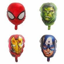 5pcs 55*33CM Marvel Captain America Spiderman Hulk Cartoon Head Foil Balloons Baby Shower Birthday Party Decor Kids Toys Globos