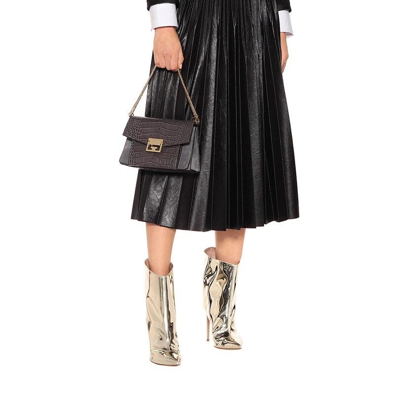 Bottines dorées pour femmes chaussures femme 2019 bout pointu chaussons à talons hauts mode dames botte courte femmes automne chaussures - 5