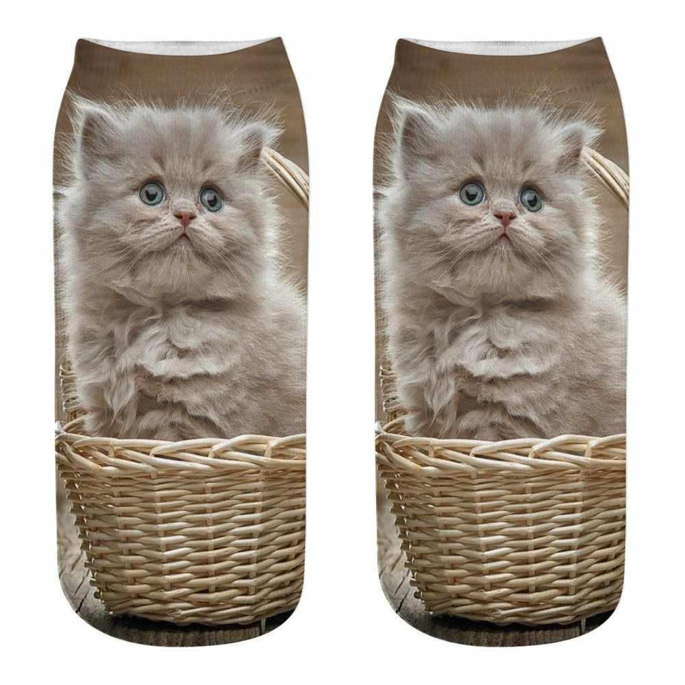 Damla 3D baskılar sevimli kedi çorap bayanlar için Unisex komik moda rahat çorap sevimli Low Cut ayak bileği çorap Hip Hop calcetas mujer