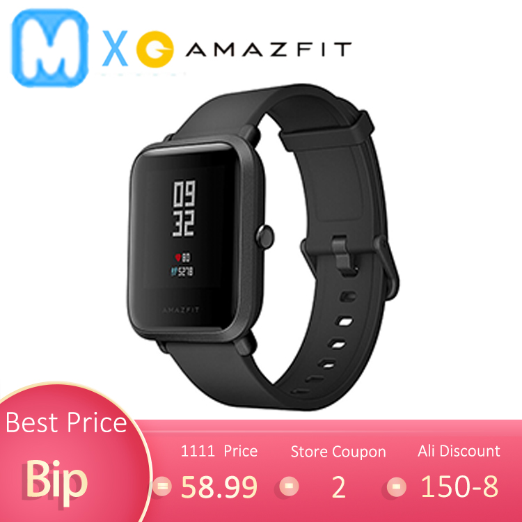 [Global Version] Amazfit Bip Smart Watch Spanish Russian GPS man Smartwatch Android iOS Heart Rate 45 Days Battery Life IP68|Smart Watches|Consumer Electronics - AliExpress
