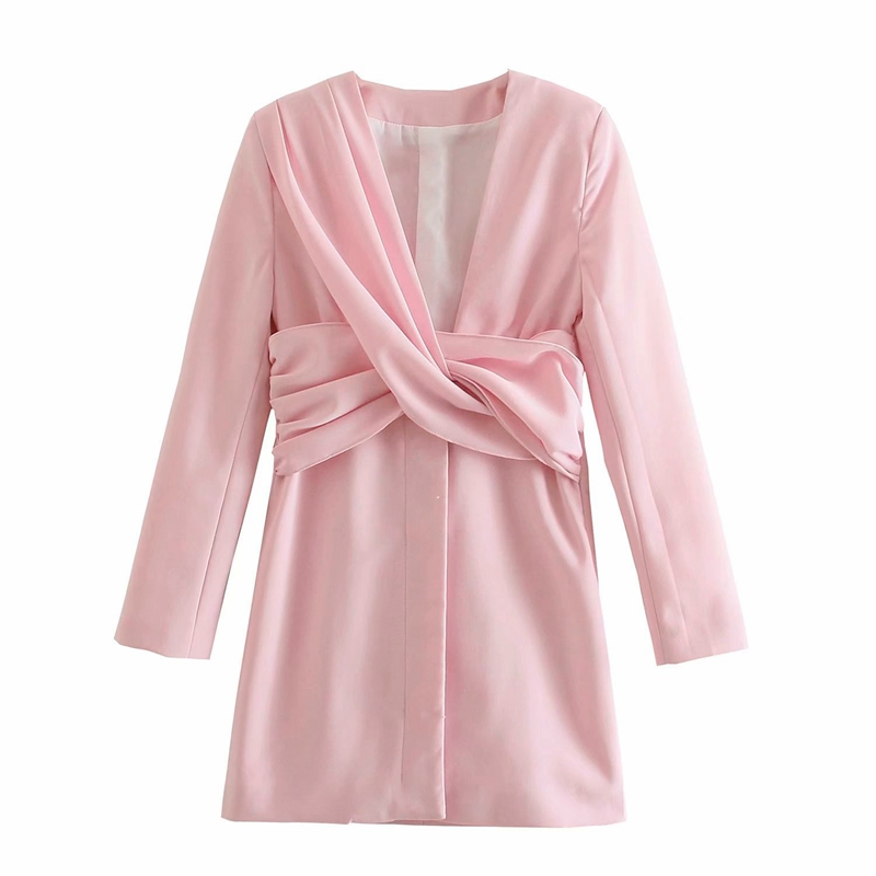 Tangada 2021 Fashion Women Elgant Pleated Party Dress Long Sleeve V Neck Ladies Short Dress 4M131 8