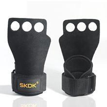 3-hole dedo crossfit couro apertos de mão com envoltórios de pulso de neoprene para anéis de ginástica ginásio levantamento de peso puxar para cima barra de treinamento