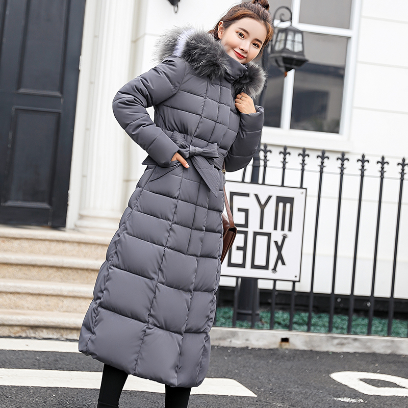 2019 new large-collar x-long waist-slim   parka   down jacket and thick cotton jacket for women Pad in winter big 1918