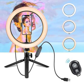 10 2 Cal lampa pierścieniowa ze stojakiem-Rovtop kamera led lampa leddo smartfona pierścień dla iPhone statyw i uchwyt telefonu na fotografia wideo tanie i dobre opinie Foleto Canon NIKON Sony Olympus Lumix Leica SAMSUNG Pentax Fujifilm 3500-5600 Selfie Light Ring Pakiet 1 10inch 215g ring light