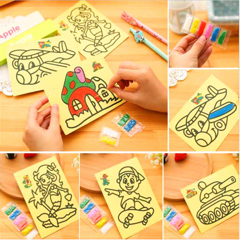 10Pcs/lot DIY Colorful Sand Painting Pictures Drawing Toys For Children Kids Creative Art Crafts Sand Educational Toys Girl Gift