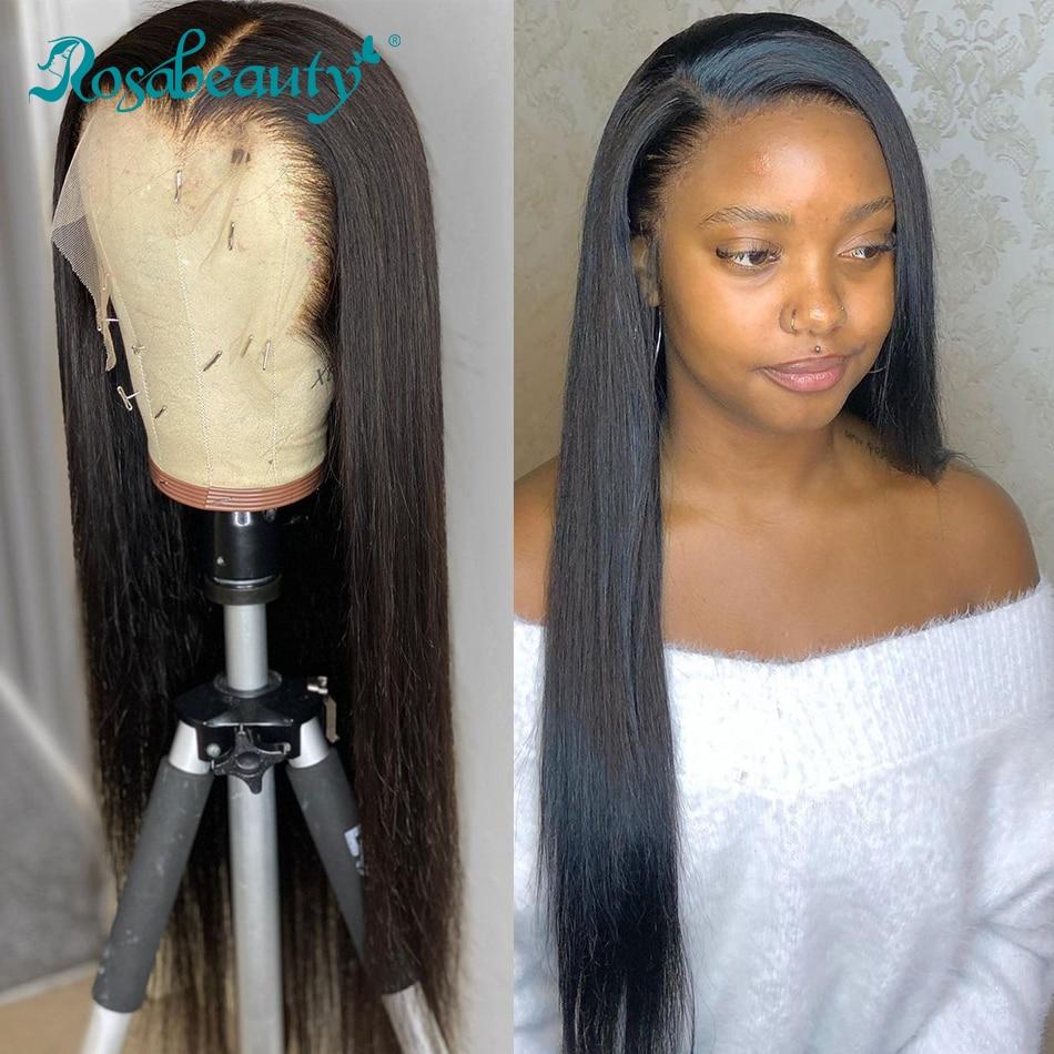 Rosabeauty малазийские прямые 13х4 кружевные передние предварительно собранные человеческие волосы для черных женщин 28 30 40 Inch Gluess кружевные пере...