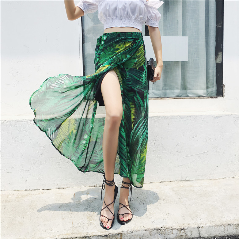 2019 Summer One Chip Wrap Skirt Printed Skirt Chiffon Skirt Floral-Print Lace-up Slit Sexy Long Skirts Photo Shoot