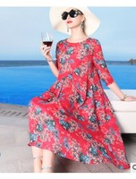 Heavy weight silk quality printing new style light mature European station women's round neck loose big swing dress 2020