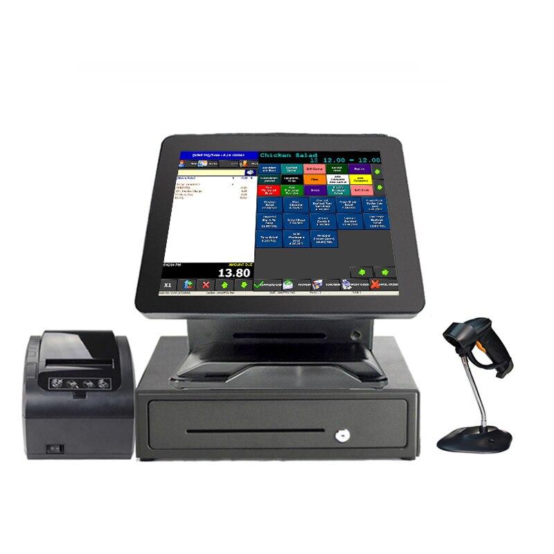 Ensemble complet tout en un matériel de système de position d'écran clair tactile de 15 pouces pour le Point de vente de magasin commercial