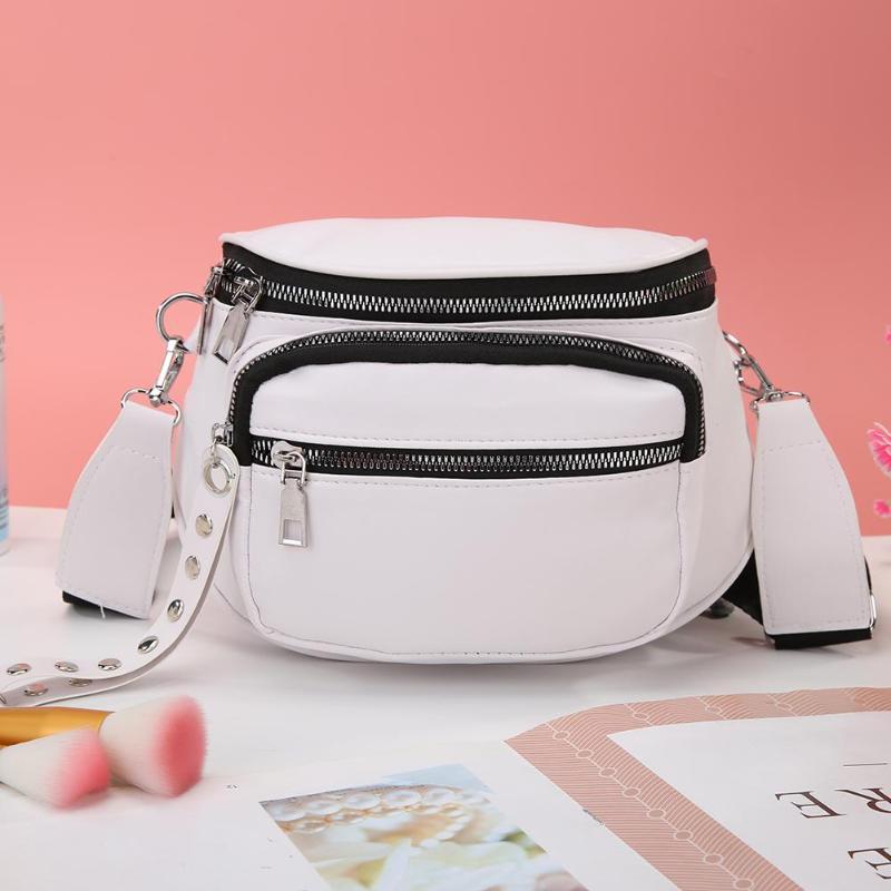 Leisure Solid Messenger Bag Women Large Capacity PU Leather Multi-pocket Shoulder Crossbody Handbag For Vacation And Travel