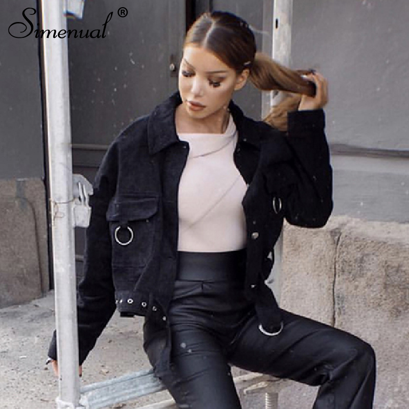 Simenual Fashion 2019 Autumn Jackets Corduroy Long Sleeve Women Coats Solid Slim Pocket Sashes Button Winter Short Outerwear New in Jackets from Women 39 s Clothing