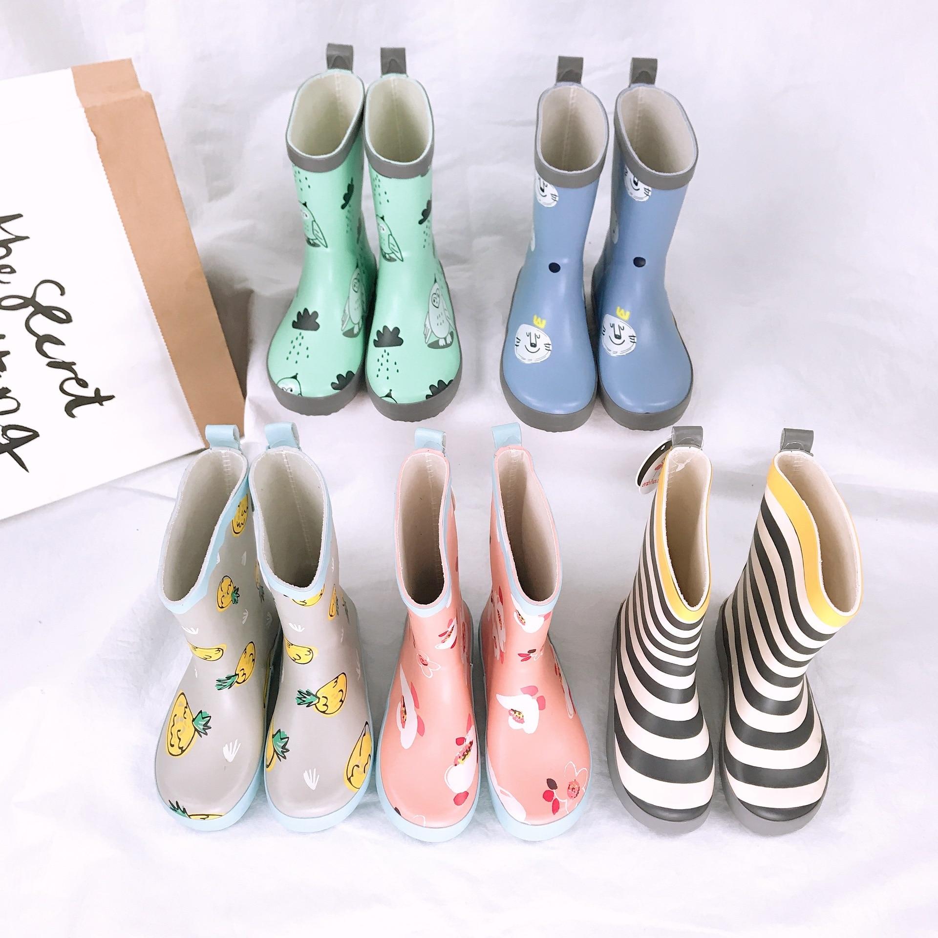 Celveroso Rain Boots Kids Girl Cute Cartoon Printed Children's Rubber Boots Kalosze Dla Dzieci Waterproof Baby Water Shoes