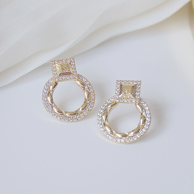 14k or réel exquis cercle CZ femmes boucles d'oreilles haute qualité charme Mircro incrusté AAA zircone boucle d'oreille cadeau d'anniversaire 6
