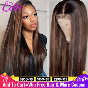Image 1 - Highlight Wig Straight Lace Front Wig 28 30 Inch Red Wig Highlight Colored Human Hair Wigs Celie Honey Blonde Lace Front Wig