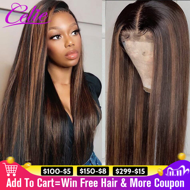Highlight Wig Straight Lace Front Wig 28 30 Inch Red Wig Highlight Colored Human Hair Wigs Celie Honey Blonde Lace Front Wig