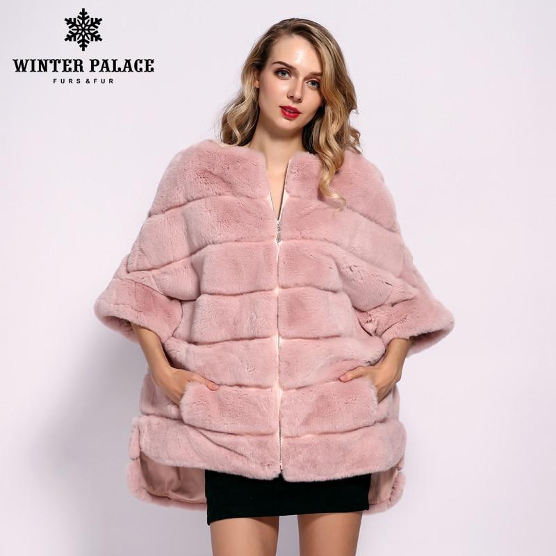 WINTER PALACE 2019 Winter New Fashion Rex Rabbit Fur Coat Short Zipper Jacket Bat Fur Coat Warm Women's Jacket Short Sleeve Fur