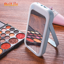 Portable LED Lighted Cosmetic Hand Mirror Shaving Mobile Power Charger Built-In Battery Rechargeable With Makeup