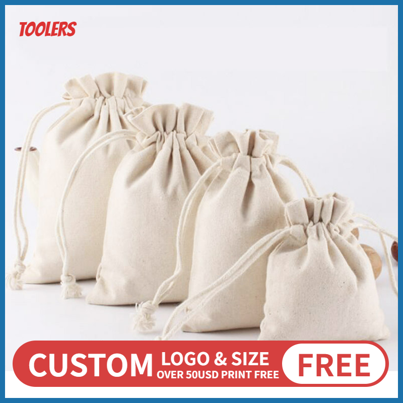 Fungus Lace 8oz Canvas Drawstring Bag 100 Cotton Eco Friendly Durable Draw String Storage Packaging Bags Custom Logo Wholesale