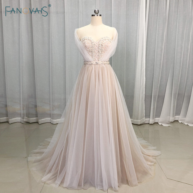 Elegant Wedding Dresses 2019 Off the Shoulder Champagne Wedding Gown 2019 Crystal Beaded Top Tulle Vetsido de Novia WN10