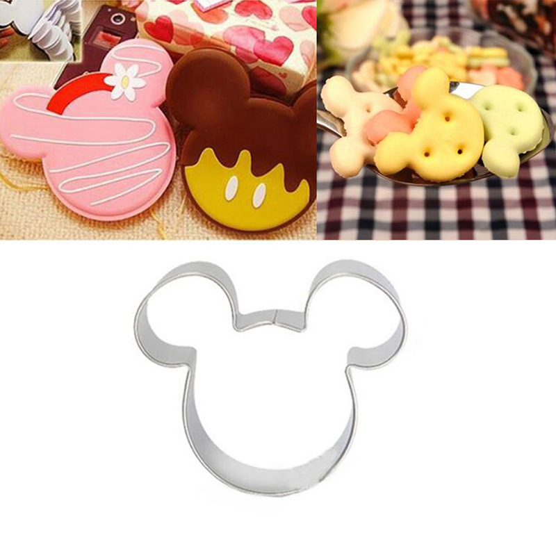 New Metal Mickey Mouse Shaped Cookie Pastry Dessert DIY Cake Cutter Baking Mould Stainless Steel 3D Mold Kitchen Accessories image