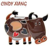 CINDY XIANG emaye süt inek broş çocuklar karikatür Pin broş 6 renkler mevcut