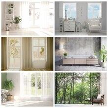 Laeacco biały dom pokój wystrój wnętrz kurtyna okno zielony las fotografia Backdrops zdjęcie tło do zdjęć Studio