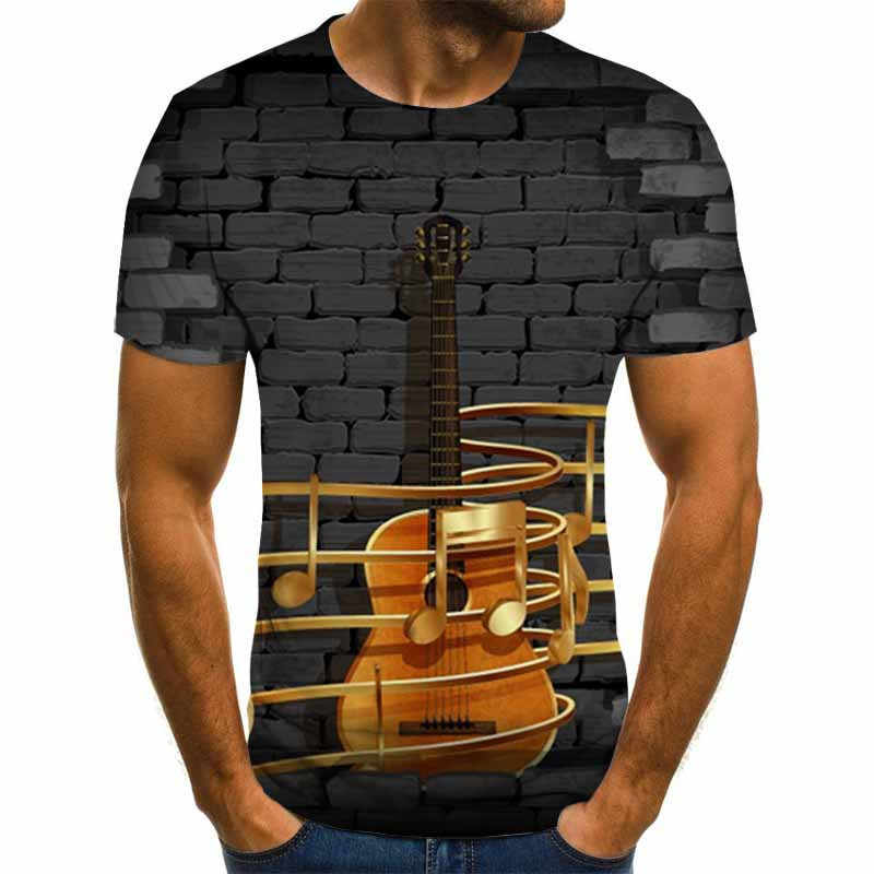 2020 neue Mens 3d Gitarre Gedruckt Mode Kurzen Ärmeln T Hemd Täglichen Kurzarm T T-shirt Weibliche Psychedelic Kleidung