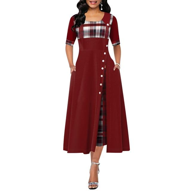Elegant Long Dress Women spring Plaid Print Party Dress Irregular Vintage Dresses Ladies Button A-Line 2020 New fashion Dress 4