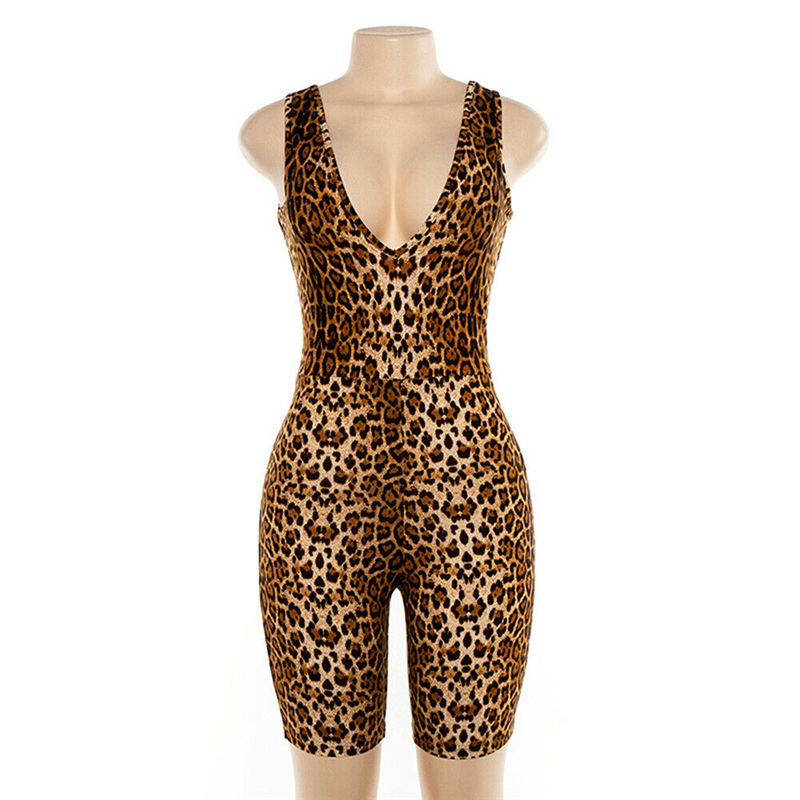 2019 Sexy Women Sleeveless V-neck Leopard Jumpsuit Romper Casual Clubwear Playsuit Fashion Streetwear Leopard Factor Youth Cloth