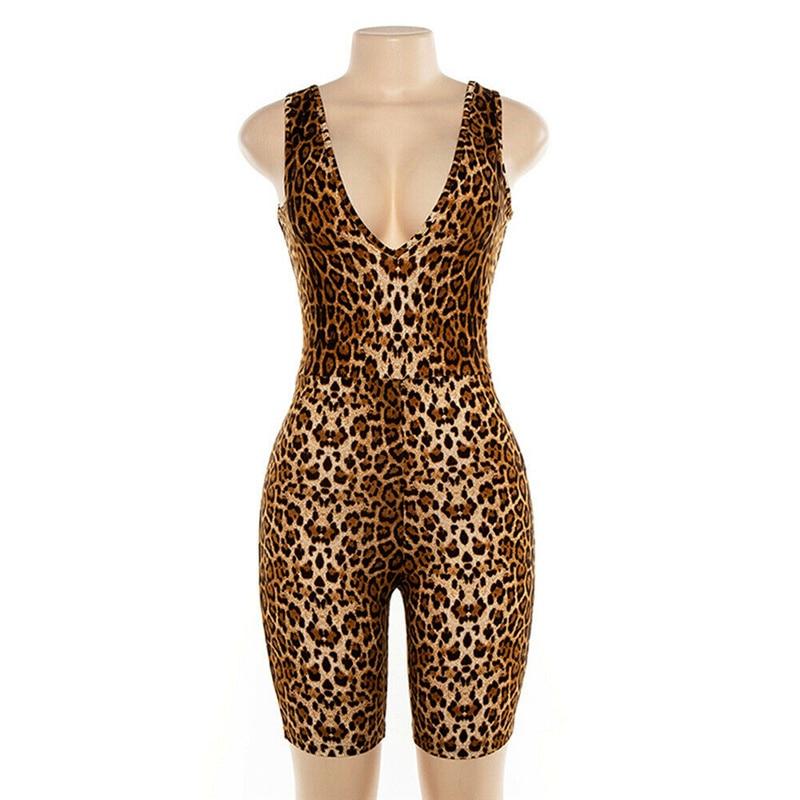 2019 Sexy Women Sleeveless V-neck Leopard Jumpsuit Romper Casual Clubwear Playsuit Fashion Streetwear Leopard Factor Youth Cloth