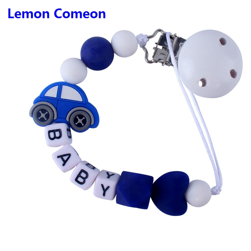 Lemon Comeon Customed Silicone Beads Car Pacifier Leash Personalized Pacifier Clip To Soothie With DIY Baby's Name Teething Toy