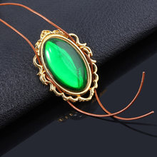 Anime Violet Evergarden Cosplay Necklace Green Crystal Vintage Choker Leather Rope Chain Female Girl Shirt Accessorie Jewelry(China)