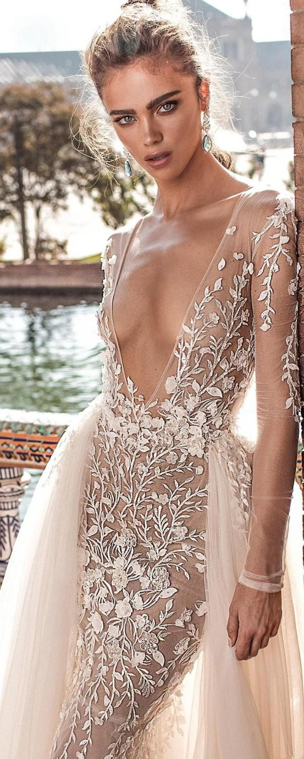 Mermaid Wedding Dresses With Detachable Train Lace Applique Deep V neck Beach Wedding Gowns Sweep Train Long Sleeve Sexy Bridal