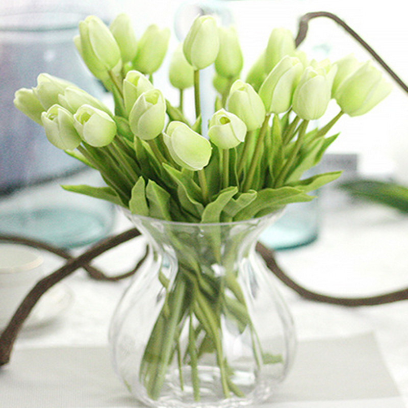 1PC PU Mini Tulips Artificial Flowers For Home And Wedding Decoration Flowers 16