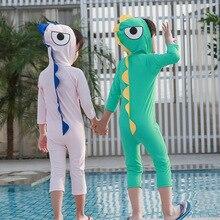 Детский купальный костюм, детский купальник-бикини Детский, одежда для детей г. Новинка, для мальчиков и девочек, с капюшоном, с изображением динозавра