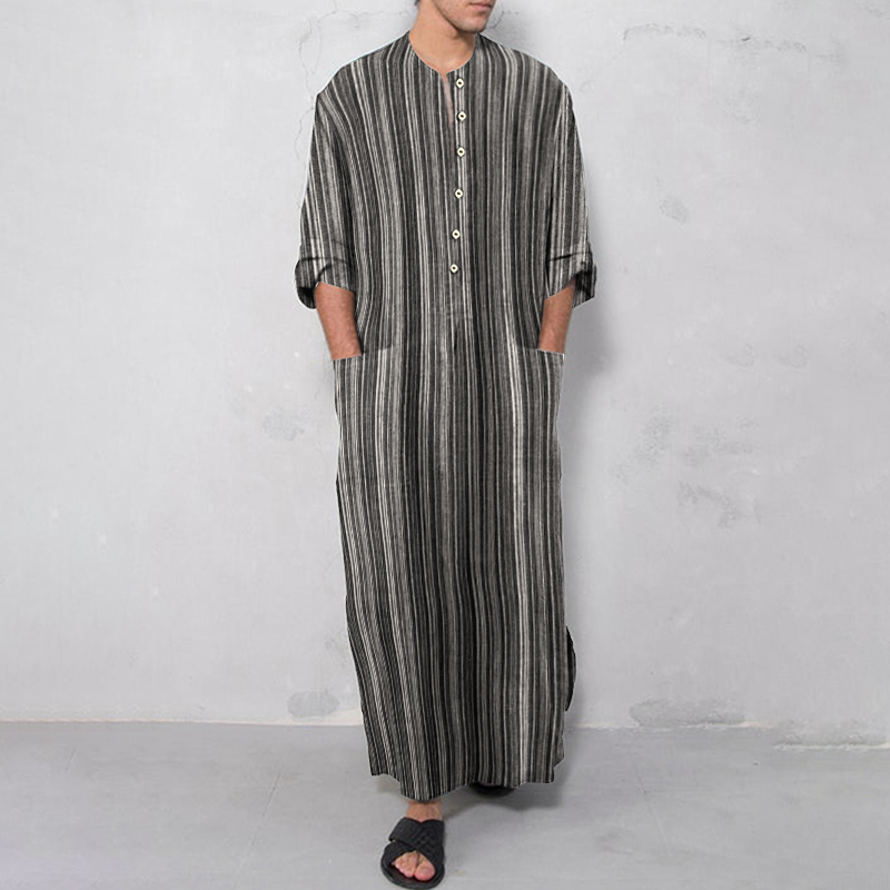 INCERUN Vintage Men Islamic Arabic Jubba Thobe Long Sleeve Solid Pockets Robes Men Saudi Arabia Abaya Dress Muslim Kaftan 2020