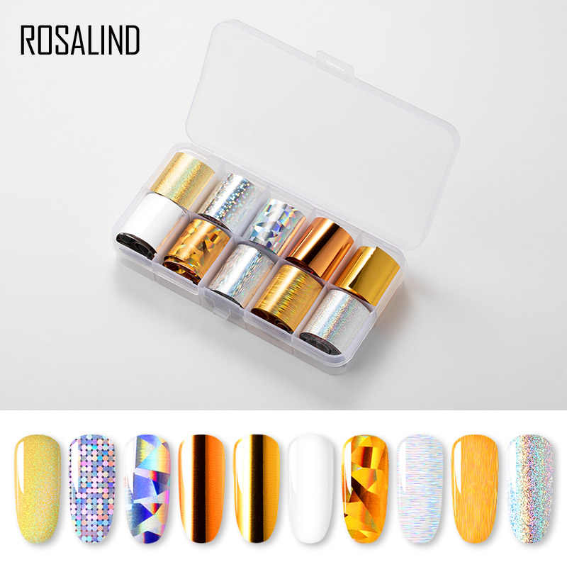 ROSALIND Slider Foil Stickers For Nails Art decals Manicure Set Design Top Semi Permanent Nail Stickers Kit Need Base Gel Polish