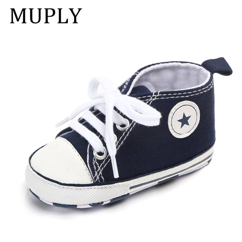 Baby Canvas Classic Sports Sneakers Newborn Baby Boys Girls Print Star First Walkers Shoes Infant Toddler Anti-slip Baby Shoes 4