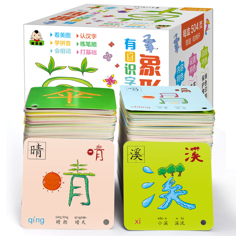 1008 Pages caractères chinois cartes Flash pictographiques 1 & 2 pour 0-8 ans bébés tout-petits enfants carte d'apprentissage 8x8cm