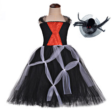Black Halloween Costumes for Girls Vampire Halloween Spider Cosplay Tutu Dress Scary Kids Spider Criss-Cross Zombie Clothes Set 2019 halloween costumes for women vampire zombie devil party performance dress veil set halloween scary cosplay outfit set
