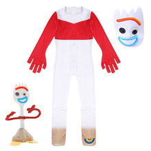 Forky Cosplay Costume Kids Jumpsuit Outfits Mask Boys Clothes Cartoon Movie Print Halloween Carnival Costumes