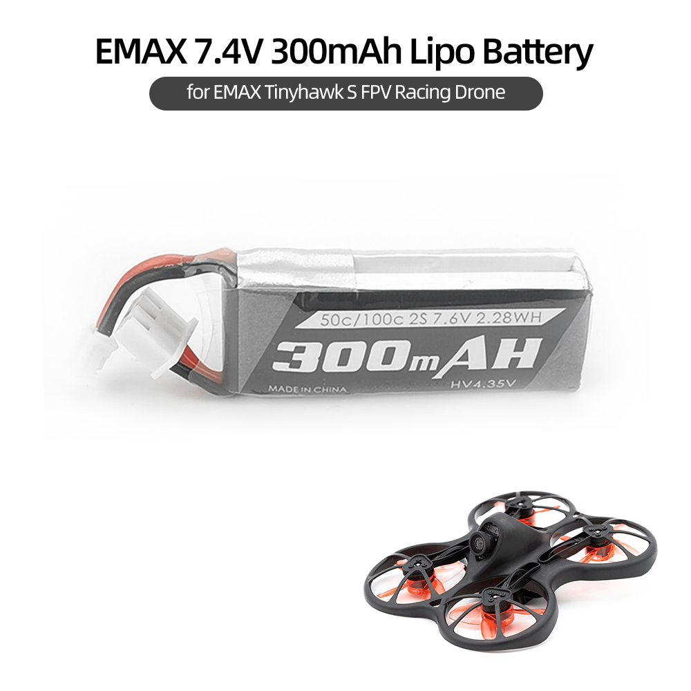 7.4V 300mAh Lipo Battery for EMAX Tinyhawk S FPV Racing RC Drone Helicopter image