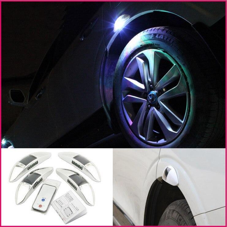 Automobile solaire roue LED sourcil lampe hub anti-arrière-fin explosion flash lampe véhicule alarme lampe télécommande ensemble 4 pièces