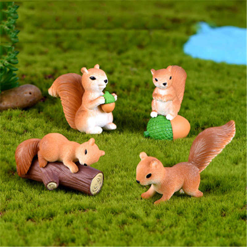 ZOCDOU 1 Piece Lovely Australian Forest Squirrel Model Small Statue Figurine Crafts Figure Goldfish Ornament Miniatures