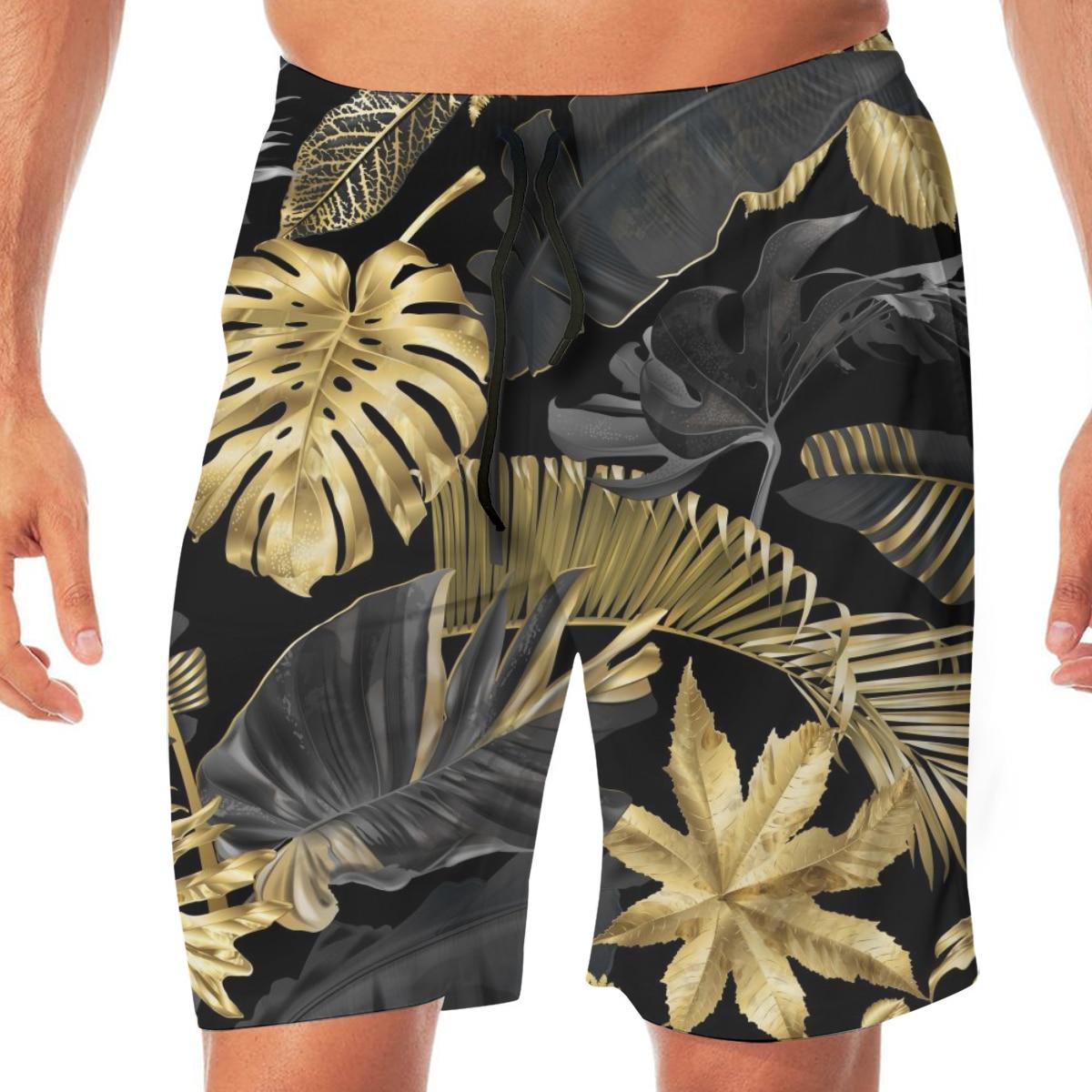 Exotic Botanical Gold Black Tropical Leaves Swimming Shorts For Men Swimwear Man Swimsuit Swim Trunks Summer Bathing Beach Wear