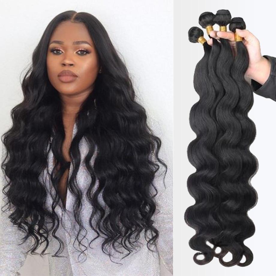 Mechones de cuerpo ondulado pelo humano brasileño Natural negro tejido 4 Remy extensiones de cabello humano mechones ofertas para mujeres negras extensiones de cabello