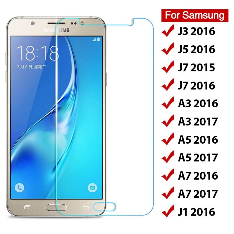 Закаленное стекло для Samsung Galaxy J3 J5 J7 J1 2016 9H, Защита экрана для Samsung A3 A5 A7 2017, жесткая Защитная передняя пленка