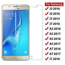 Protetor de tela em vidro temperado resistente 9H, película frontal, ideal para Samsung Galaxy J3 J5 J7 J1 2016 A3 A5 A7 2017